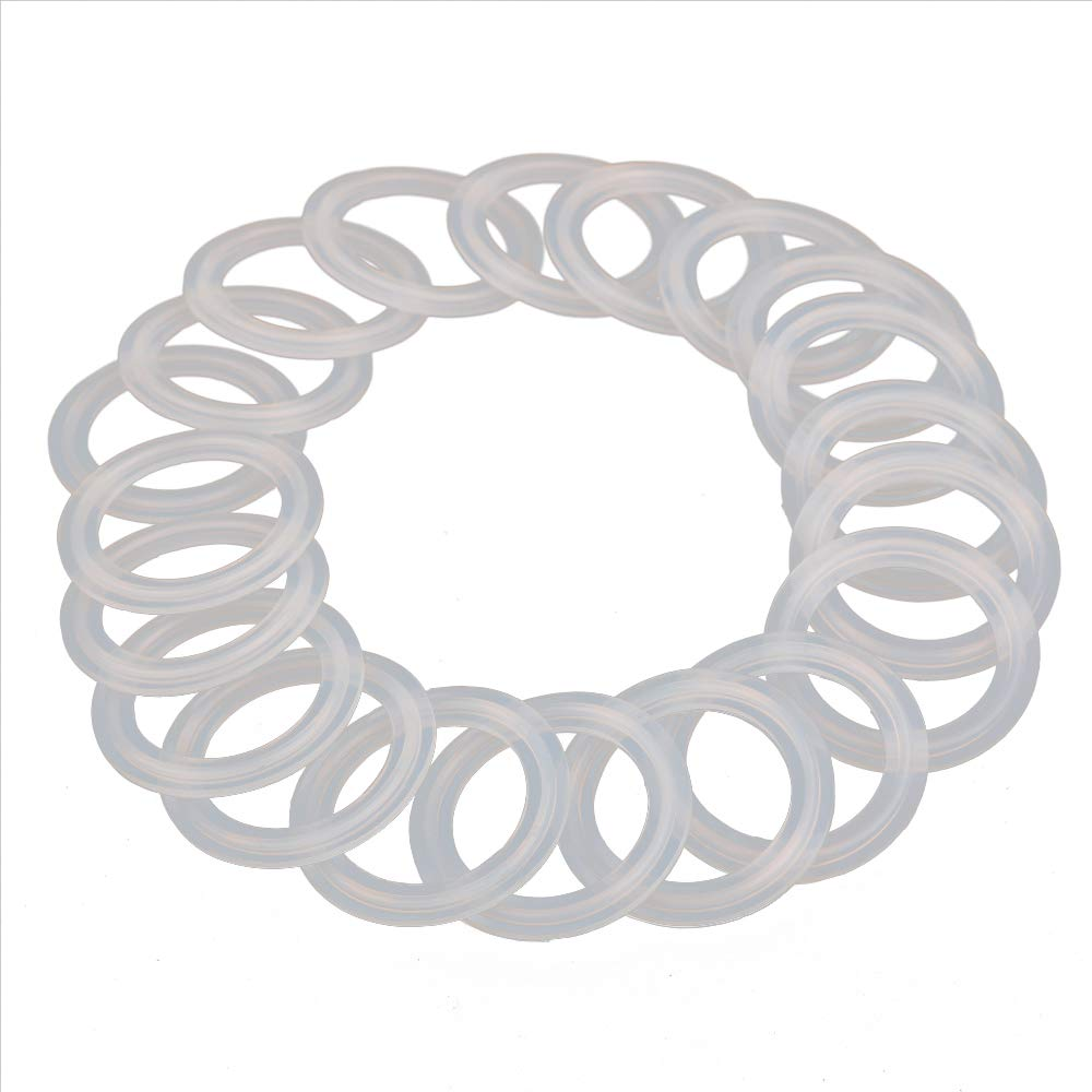 """HODEE 20 PCS Sanitary triCLAMP Tri CLAMP Silicone Gasket 1.5"""" (1.5 inch)OD: 50.5mm, ID: 35.1mm Dairy Brewing TRI Clove"""