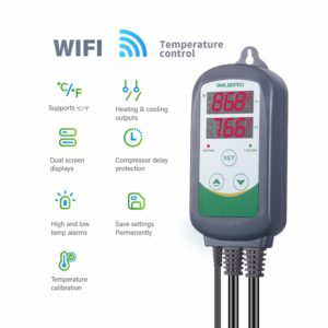 Inkbird WiFi ITC-308 Digital Temperature Controller Outlet Thermostat, Dual Screen Readouts,1100w, w/Sensor, Home Brewing & Fermentation,Breeding& Incubation,Greenhouse,Kombucha