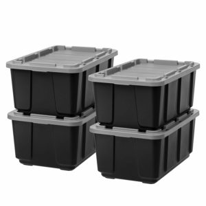 IRIS USA, Inc. R-UTB-27 IRIS 27 Gallon Utility Tough Tote, 4 Pack, Black with Gray Lid 27 GAL Count