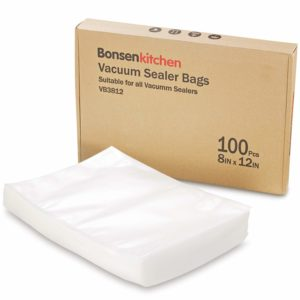 Bonsenkitchen BPA Free Quart Size 8''x12'' Vacuum Sealer Packing Bags for Food Saver and Sous Vide Cooking