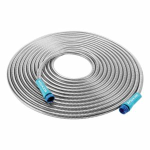 "Sun Joe AJSGH25 1/2"" Heavy-Duty Spiral Constructed Stainless Steel Metal Garden Hose, 25 Foot"
