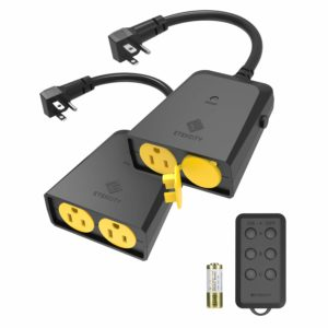 Etekcity Wireless Outdoor Remote Control Outlet, Weatherproof, 150ft Range Electrical Light Switch, 4 Grounded Outlets, FCC ETL Certified, Black (1 Remote Included)