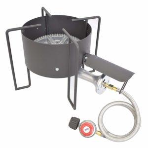 COOKAMP High Pressure Banjo 1-Burner Outdoor Propane Gas Cooker with 0-20 PSI Adjustable Regulator and Steel Braided Hose
