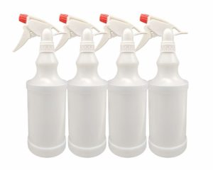 Plastic Spray Bottles Leak Proof Adjustable Nozzle Empty 32 oz - 1 Liter Value Pack of 4 with Commercial Grade Trigger Multi-Purpose Use for Cleaning Solutions, Planting, Cooking