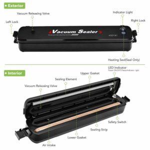 Vacuum Sealer Machine Food Sealer, Moer Sky Multifunction Automatic Vacuum Sealer System for Food Preservation, Led Indicator Lights, 25pcs Sealing Bags