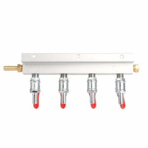 "YaeBrew Gas Manifold, Beer Gas Distributor, Air Distributor CO2 Manifold - Splitter 5/16"" Barb Fittings (4 Way)"