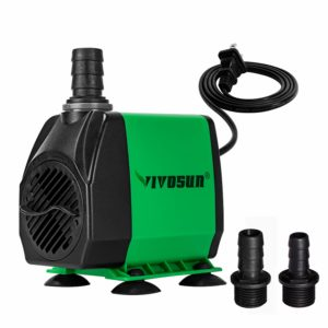 VIVOSUN 800GPH Submersible Pump(3000L/H, 24W), Ultra Quiet Water Pump with 10ft High Lift, Fountain Pump with 5ft Power Cord, 3 Nozzles for Fish Tank, Pond, Aquarium, Statuary, Hydroponics