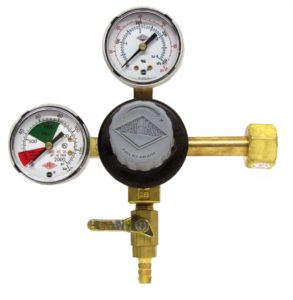 """TAPRITE E-T742 CO2 Primary Beer Dual High Pressure Gauge New - CGA 320 Inlet 5/16"""" Barb Shutoff (Brass Body)"""