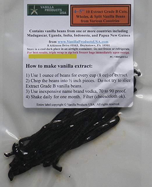 Vanilla Products USA 10 Extract Grade B Vanilla Beans 4~5 inches (12~14 cm)