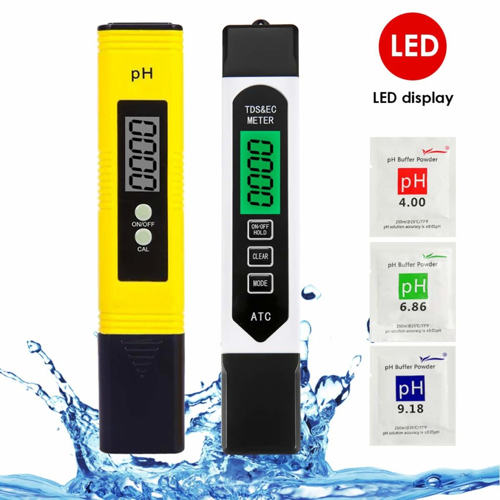 Water Quality Tester 2 in 1 Set, LIUMY pH & TDS Water Tester, 0~9990 PPM, EC and Temperature Measurement; 0.01ph High Accuracy with 0-14 PH Measurement Range, Measure for Water, Wine, Spas, Aquariums