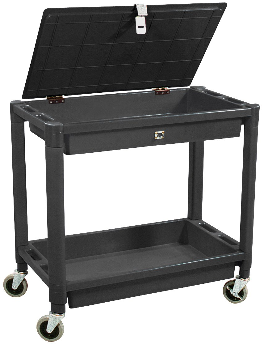 Astro Pneumatic Tool 8334 2 Shelf Plastic Cart with Locking Lid - Black Color