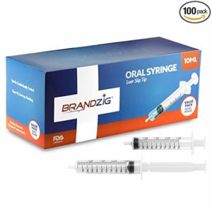 10ml Oral Syringes - 100 Pack – Luer Slip Tip, No Needle, FDA Approved, Individually Blister Packed - Medicine Administration for Infants, Toddlers and Small Pets (No Cover)
