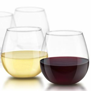 JoyJolt Spirits Stemless Wine Glasses for Red or White Wine (Set of 4)-15-Ounces