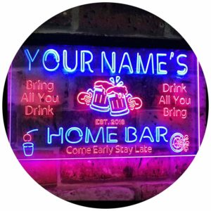 Personalized Your Name Custom Home Bar Beer Established Year Dual Color LED Neon Sign Red & Blue 16 x 12 Inches st6s43-p1-tm-rb