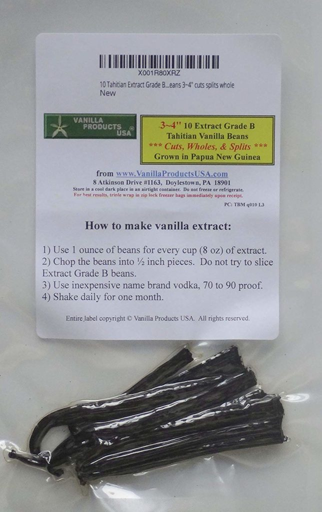 Vanilla Beans 10 Tahitian Extract Grade B 3~4 inches, cuts splits whole by Vanilla Products USA