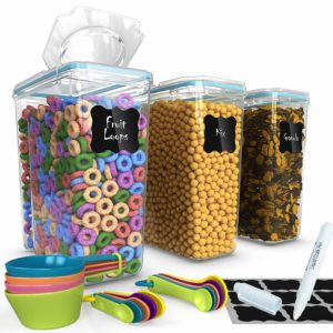 Top Quality Cereal Containers 3 Pc (16.9 Cup/135.2oz) + FREE 14 Measuring Cups/Spoons + 18 Chalkboard Labels & Marker - Airtight Dry Food Keepers - Great For Cereal, Flour, Sugar - BPA Free Dispenser