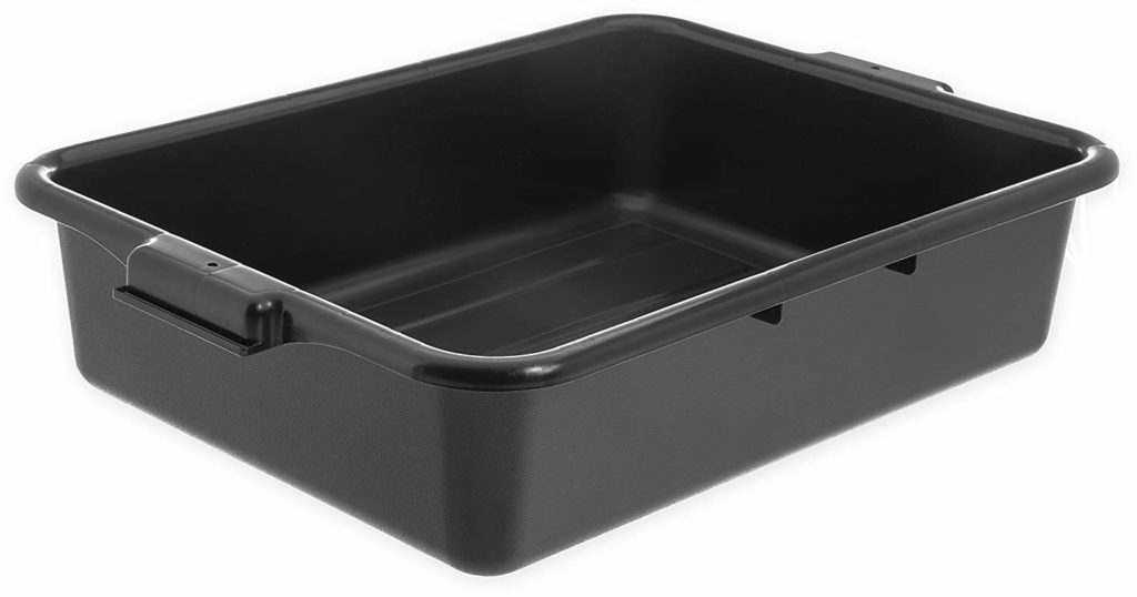 "Carlisle N4401003 Comfort Curve Ergonomic Wash Basin Tote Box, 5"" Deep, Black"