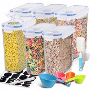 Cereal Container, EAGMAK Airtight Dry Food Storage Containers, BPA Free Large Kitchen Pantry Storage Container for Flour, Snacks, Nuts & More (Blue, Set of 6)