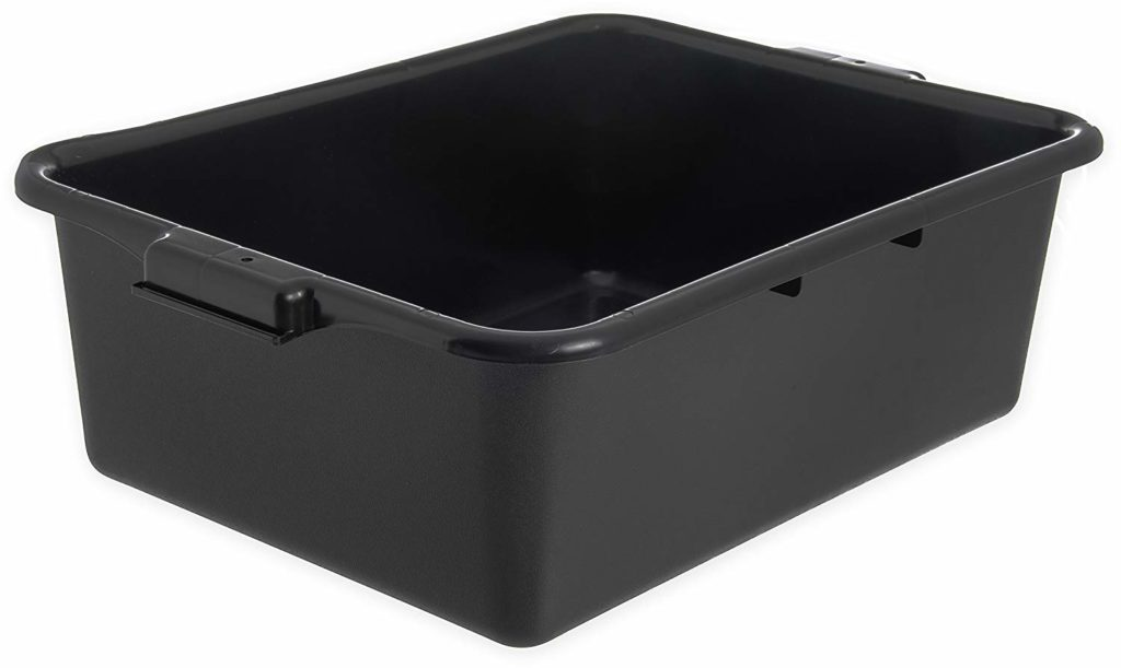 "Carlisle N4401103 Comfort Curve Ergonomic Wash Basin Tote Box, 7"" Deep, Black"
