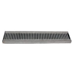 "12 x 5"" Stainless Steel Drip Tray Surface Mount with Drain"