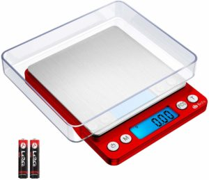 Brifit Upgraded Digital Kitchen Scale, 500g-0.01g Mini Pocket Jewelry Scale, Cooking Food Scale with Back-Lit LCD Display, 2 Trays, 6 Units, Auto Off, Tare, Stainless Steel