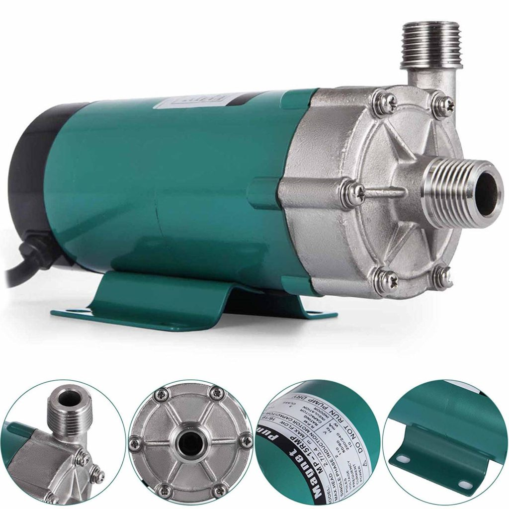 Happybuy Beer Brewing Pump Stainless Steel Head with 1/2 Inch Mpt Magnetic Home Brew Pump 110 Volt Inline Home Brewing System Beer Pump