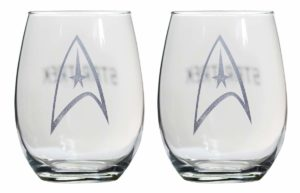 Star Trek Collectible Wine Glass Set, Starfleet Command Insignia Badge