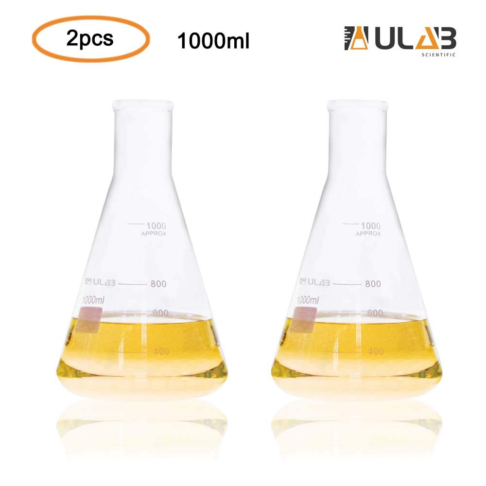 ULAB Scientific Narrow-Mouth Glass Erlenmeyer Flask Set, 34oz 1000ml, 3.3 Borosilicate with Printed Graduation, Pack of 2, UEF1027