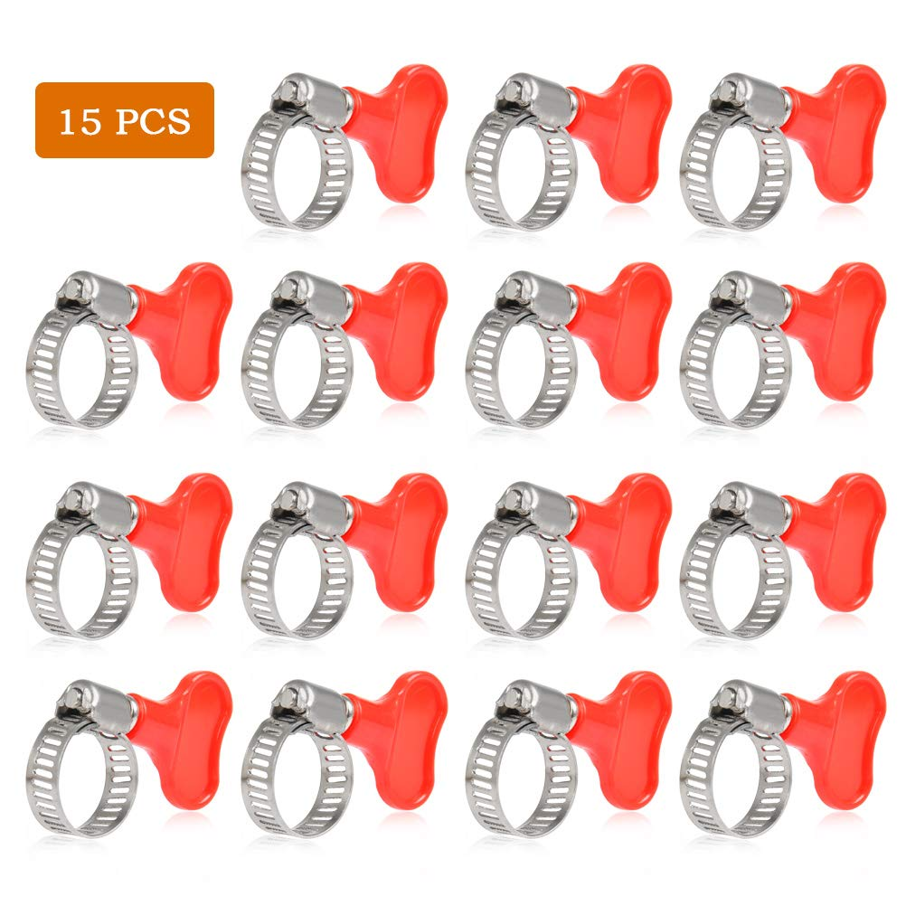 QLOUNI Worm Gear Clamp Stainless Steel for Home Brewing Plumbing Automotive and Mechanical Applications, Beer Line Clamps 10-16mm (0.39''-0.63'') (Pack of 15)
