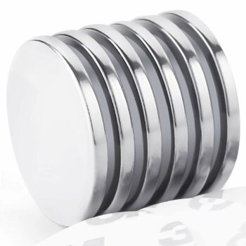 "Grtard Powerful Neodymium Disc Magnets Rare Earth Magnets Fridge, DIY, Scientific, Craft, and Office Strong Magnets with Double-Sided Adhesive - 1.26""D x 0.08""H, Pack of 6"