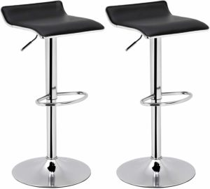 SONGMICS Set of 2 Adjustable Bar Swivel Kitchen Breakfast Counter Stools, Modern Hydraulic PU Barstools, Black