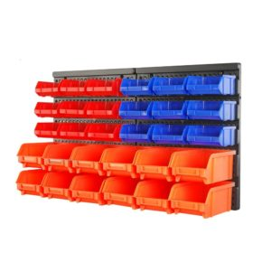 HORUSDY Wall Mounted Storage Bins Parts Rack 30PC Bin Organizer Garage Plastic Shop Tool - Best Unique Tool Gift for Men