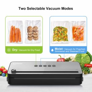Bonsenkitchen Vacuum Packing Machine for Foods, Vacuum Sealer with Built-in Cutter for Both Wet and Dry Foods, Vacuum Roll Bags Included