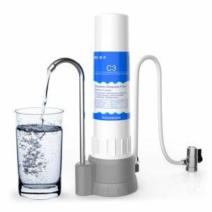 SimPure Countertop Water Filter, Ceramic Filter,Faucet Water Filter Purifier,4-Layer Filtration,Built-in Carbon Block Filter, Filtered Water Dispenser
