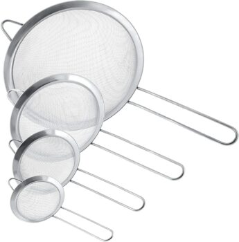 "U.S. Kitchen Supply - Set of 4 Premium Quality Fine Mesh Stainless Steel Strainers - 3"", 4"", 5.5"" and 8"" Sizes - Sift, Strain, Drain and Rinse Vegetables, Pastas & Tea"