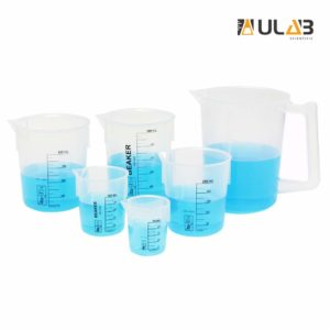 ULAB Scientific Stackable Graduated Plastic Beaker Set, 6 Sizes 50ml 100ml 250ml 400ml 500ml 1000ml with Easy-to-Read Printings in Black, 1000ml Beaker with Handle and spout, UBP1003
