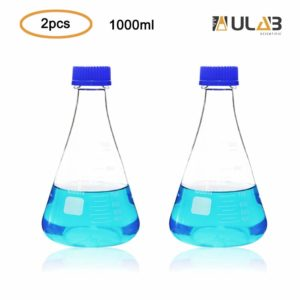 ULAB Scientific Erlenmeyer Flasks with Blue Screw Cap, 34oz 1000ml, 3.3 Borosilicate with Printed Graduation, Pack of 2, UEF1021