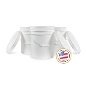 5 Gallon White Bucket & Lid - Set of 6 - Durable 90 Mil All Purpose Pail - Food Grade - Contains No BPA Plastic (5 Gal. w/Lids - 6pk)