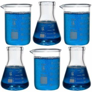Laboratory Shot Glass Set, 6 Pieces, 50ml Beakers and 50ml Flasks, Borosilicate Glass, Karter Scientific 233V2
