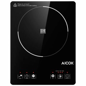 Aicok Portable Induction Cooktop, Countertop Burner with Waterproof Sensor Touch, Timer, Kids Safety Lock, Matte Microcrystal Countertop, Evenly Heated (Security,FDA Approved)