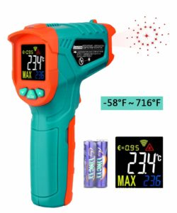 Mileseey Infrared Thermometer Temperature Gun Non-Contact Laser Digital Thermometers with Color LCD Display -58℉~716℉Adjustable Emissivity & Max Measure for Kitchen Cooking Meat BBQ and Automotive