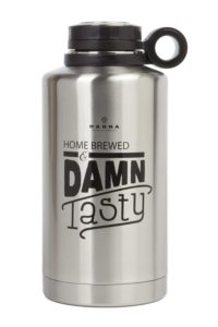 Manna Ring Growler | 64oz Vacuum Insulated Stainless Steel | Craft and IPA Beer Growler | Keeps Beverages Fresh and Cold up to 24 Hours | Lead and BPA Free - Damn Tasty