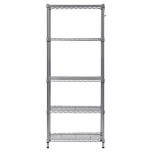 "Muscle Rack WS241459-5S 5 Tier Wire Shelving with Hooks in Silver, 59"" Height, 24"" Width, 14"" Length"