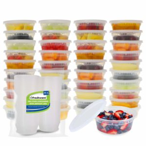 Freshware Food Storage Containers [50 Pack] 8 oz Plastic Containers with Lids, Deli, Slime, Soup, Meal Prep Containers | BPA Free | Stackable | Leakproof | Microwave/Dishwasher/Freezer Safe