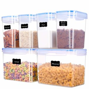 ME.FAN Food Storage Containers [Set of 6] Airtight Storage Keeper 3.6L(121.8oz)-1.6L(54.1oz) with 24 FREE Chalkboard labels Ideal for Sugar, Flour, Baking Supplies - Clear Plastic with Blue Lids