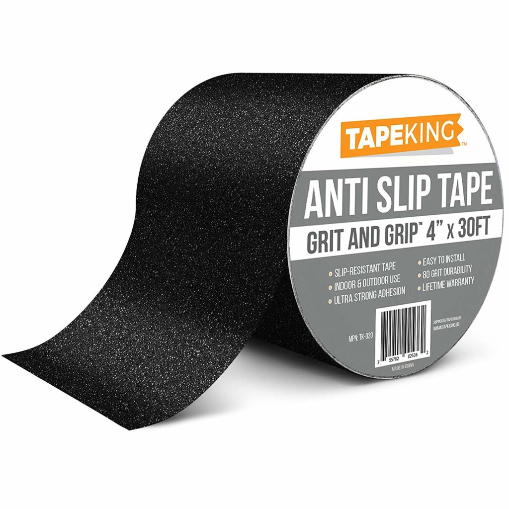 Tape King Anti Slip Traction Tape - 4 Inch x 30 Foot - Best Grip, Friction, Abrasive Adhesive for Stairs, Safety, Tread Step, Indoor, Outdoor - Black