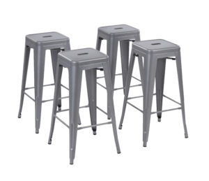 Howard 30 inch Metal Bar Stool, Set of 4 - Silver