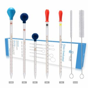 Thick Glass Graduated Dropper Pipettes with Caps Set of 5(1ml 2ml 3ml 5ml 10ml)