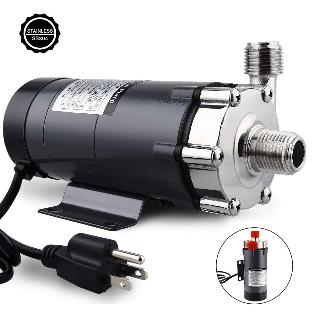 """FERRODAY Magnetic Drive Pump Wort Pump Food Grade High Temperature Stainless Head Magnetic Pump 15RM with 1/2""""NPT thread Home Brew"""