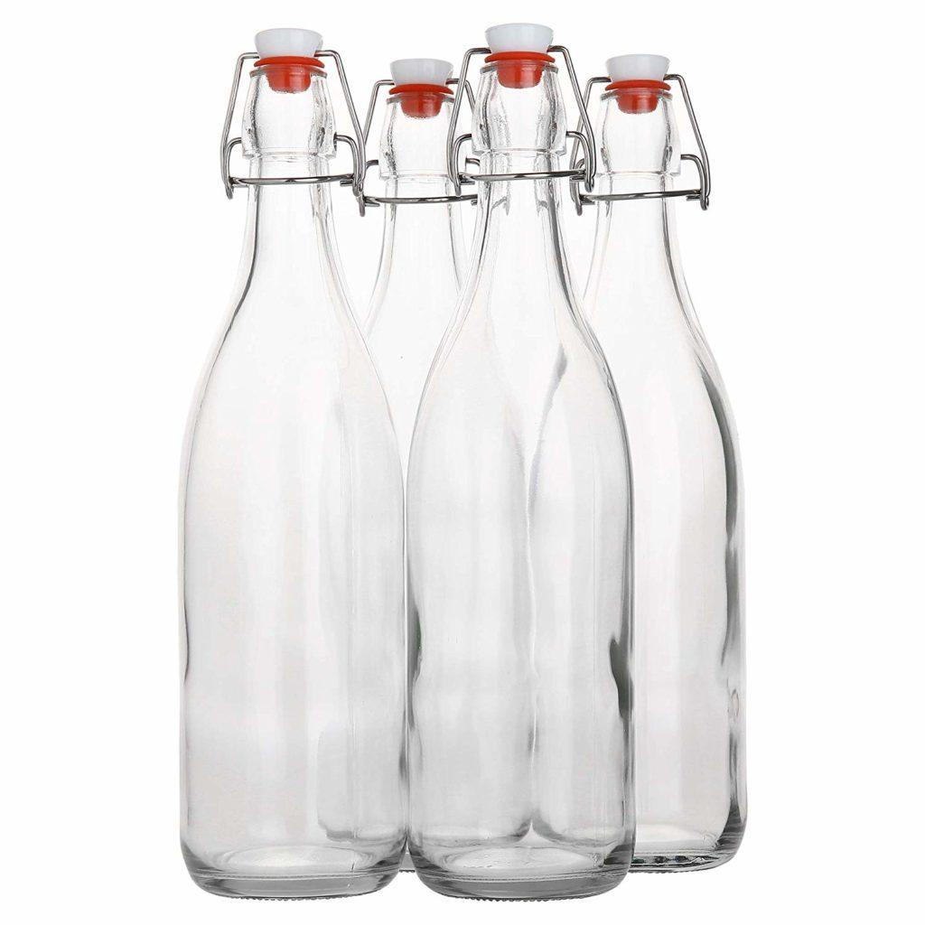 Flip Top Glass Bottle [1 Liter / 33 fl. oz.] [Pack of 4] – Swing Top Brewing Bottle with Stopper for Beverages, Oil, Vinegar, Kombucha, Beer, Water, Soda, Kefir – Airtight Lid & Leak Proof Cap – Clear